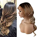 Full Shine 18 inch Color #1B Dark Roots Fading to #6 and #27 Honey Blond Remy Lace Front Wigs With Baby Hair Human Hair Wig Natural Hairline Natural Wavy 130% Density