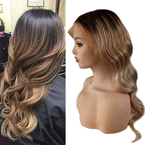 Full Shine 18 inch Color #1B Dark Roots Fading to #6 and #27 Honey Blond Remy Lace Front Wigs With Baby Hair Human Hair Wig Natural Hairline Natural Wavy 130% Density ()
