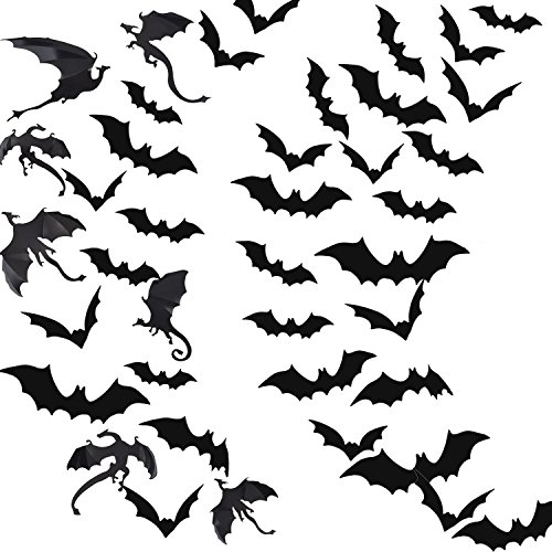 Pangda 79 Pieces Halloween Party Supplies Decorations 3D Scary Bats and Dragons Wall Decals Wall Sticker Window Decor
