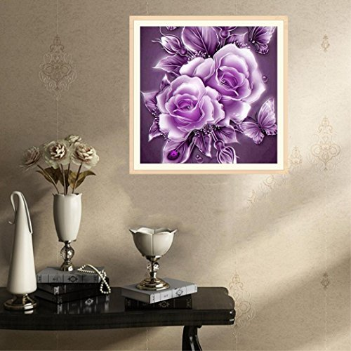 Leyorie 5D Embroidery Diamond Painting Rhinestone Pasted DIY Crystal Cross Stitch Flower Arts Craft Kits (Purple)