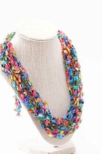 CROCHETLACES Adjustable Soft LIGHTWEIGHT Handmade Crochet Yarn Necklace Scarf- Celebrate (Trellis Scarf)