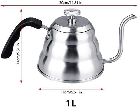 dxx Servicios de mesa Cafetera 1.2 / 1L acero inoxidable Termómetro Hervidor Cafetera Espresso jarra de café Barista goteo Hervidor Pot 1.2L,1l: Amazon.es: Bricolaje y herramientas