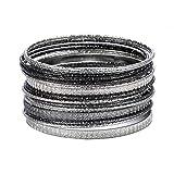 Ensoul Silver Lt Hematite Multiple Textured Metal Bracelets & Bangles Set for Women 18Pcs/Set