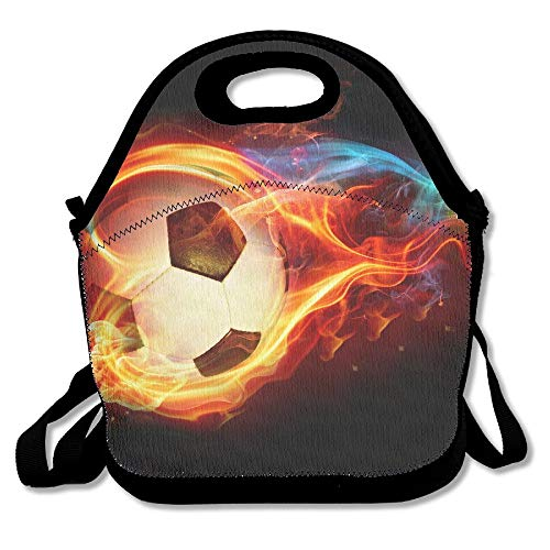 Neoprene Lunch Tote - Football Wallpaper Waterproof Reusable Lunch Bags Boxes For Men Women Adults Kids Toddler Nurses With Adjustable Shoulder Strap - Best Travel Bag