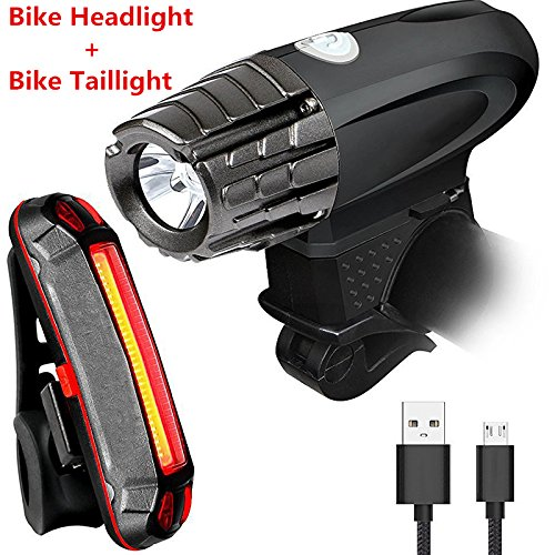 RONSHIN Waterproof Splash-proof USB Rechargeable Super Bright LED Bike Light Set include Headlight and Taillight
