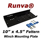 "Runva Winch Mounting Plate (Max 12000lbs) Universal Pattern 10"" x 4.5"" /w Quick Connects"