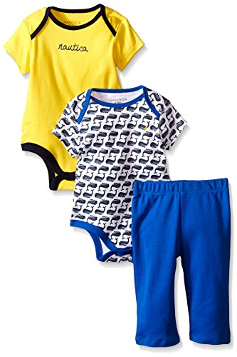 Nautica Baby Boys' 2 Pack Bodysuits and Pant Set, White, 0/3 Months