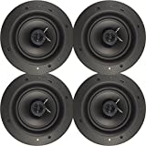 White 80W RMS 6.5'' 2-Way In Ceiling Magnetic Grill Home Theater Speaker 2 pairs