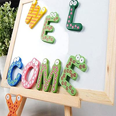 Yinpinxinmao Magnetic Letters Fridge ABC Alphabet Magnets for Toddlers Baby, Wooden Refrigerator Large Magnet Letter Learning Games Wood Toys for Kindergarten Age: Toys & Games