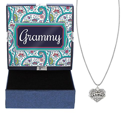 Grammy Silver-Tone Crystal Adorned Heart Shaped Charm Cable Chain Necklace Paisley Gift Box Birthday Gifts Grammy Necklace Grammy Jewelry