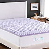 "LUCID 2"" 5-Zone Lavender Memory Foam Mattress Topper, Queen"