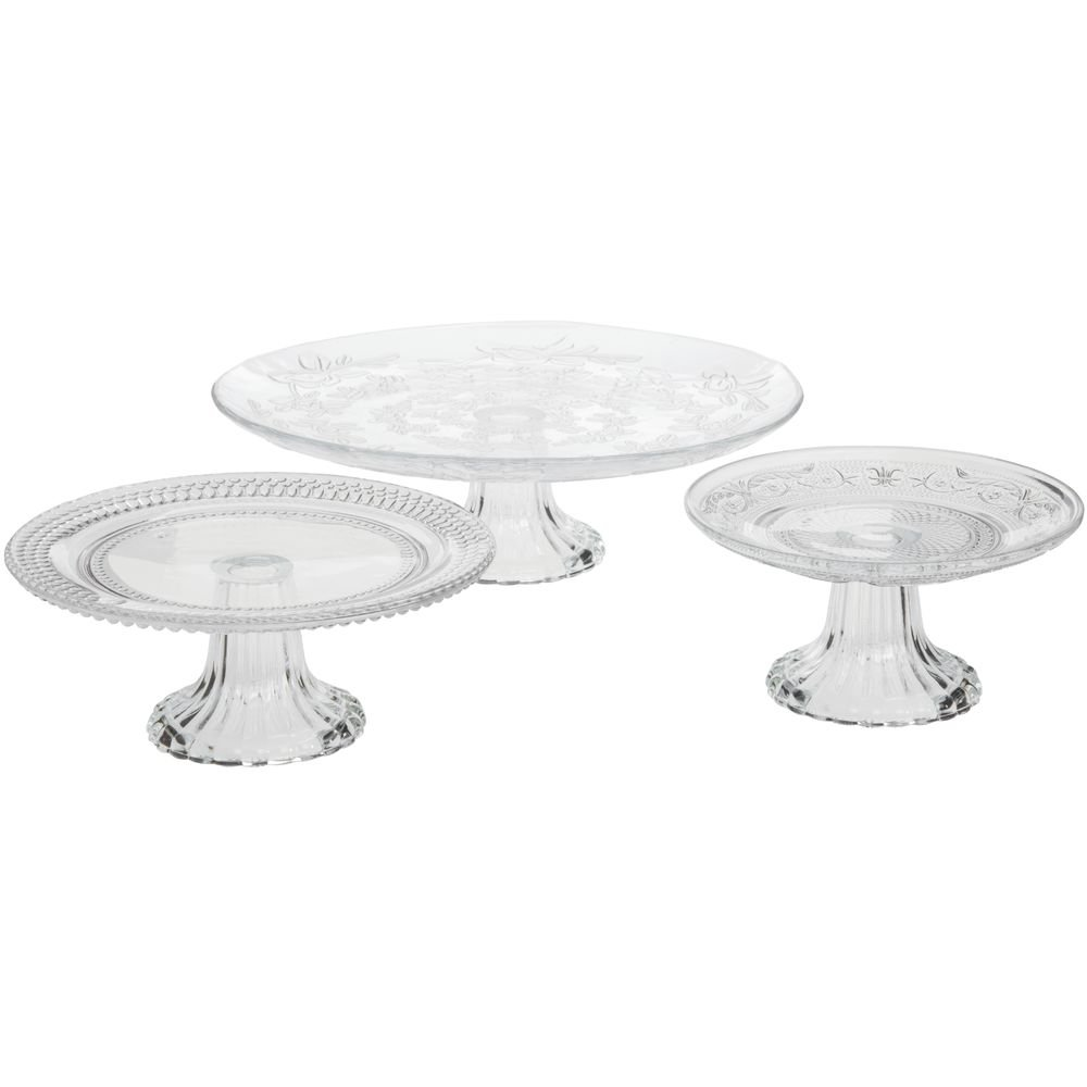 Vintage Embossed Glass Cake Stands 3 Piece Set PARK HILL COLLECTION