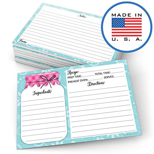 """321Done 4"""" x 6"""" Recipe Cards (Set of 50) - Mason Jar - Thick Double Sided Premium Card Stock - Made in USA - Rustic Pink and Teal, Large Notes From"""