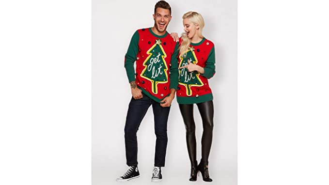 d6fffccc8a7 Ugly Christmas Sweater Get Lit Red and Green Light Up Seasonal Holiday Ware  for Women and