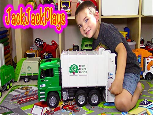 Garbage Trucks for Children Bruder Garbage Truck Toy Unboxing Jack Jack Playing Recycling ()