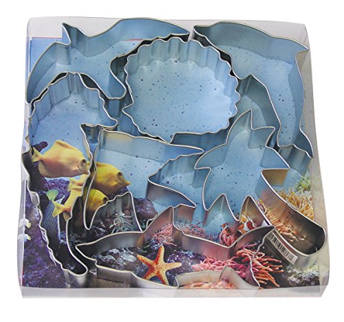 R&M International 1878 Seven Seas Ocean Cookie Cutters, Seagull, Angel Fish, Palm Tree, Seashell, Seahorse, Dolphin, Shark, 7-Piece Set