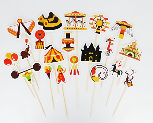 Yunko 40pcs Amusement Park Hercules Carousel Balloon Cake Cupcake Decorative Cupcake Topper for Kids Birthday Party Themed Party Baby Shower