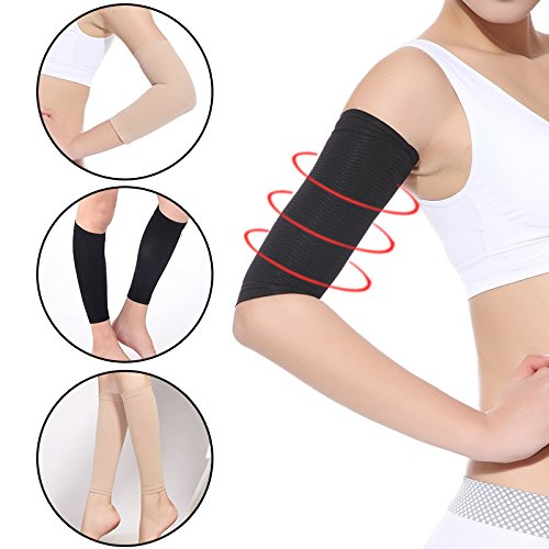 Slimming Lifting Upper Arms Shapers Pair Easy Uplift Wraps Belts for Cellulite, Fat Burning Reduction Sleeves and Weight Loss Help In Black Color,2 Pcs by Aoile(skin ()