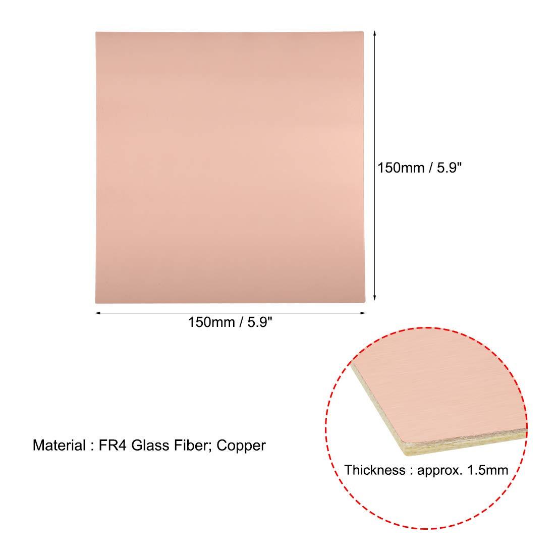 Sourcing Map Lot de 5 circuits imprim/és lamin/és double face en cuivre 180 x 120 mm FR4 1,5 mm d/épaisseur