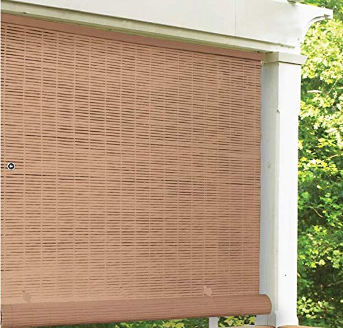 "LH Lewis Hyman 3321246 48"" W x 72"" L Cordless Woodgrain PVC Roll Up Patio Blinds - Quantity 2"