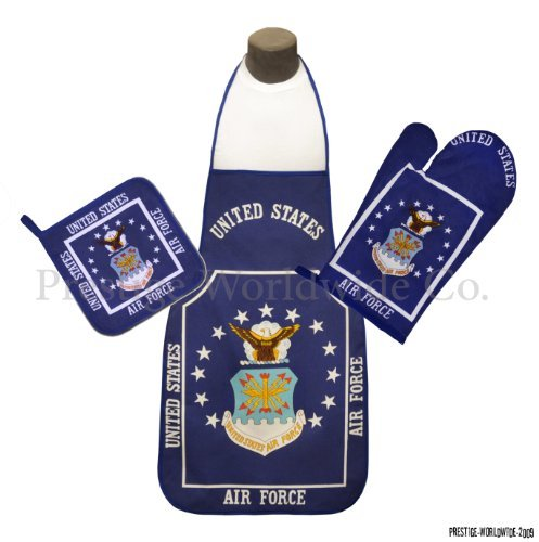 Air Force Kitchen & BBQ Set *New* w/ Apron, Oven-mitt and Pot holder-USAF Flag (Apron Force Bbq Air)