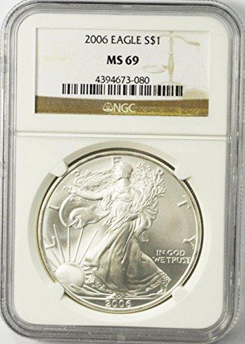 2006 Silver Eagle Fine Silver American Eagle AZC2 $1 MS-69 NGC MS