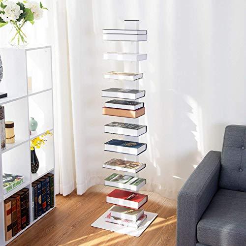 (Tangkula Spine Book Tower Shelf Bookcase Wall Shelf Unit Large Storage Floating Open Media Tower White)
