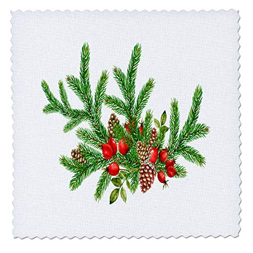 3dRose Anne Marie Baugh - Christmas - Pretty Christmas Pinecone and Berry Pine Foilage Illustration - 22x22 inch quilt square (qs_318567_9) ()