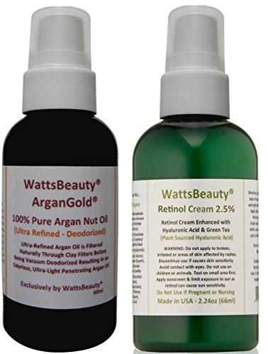Watts Beauté 2,5% de rétinol Lissage - Crème acide hyaluronique plus Watts Beauté Ultra ArganGold 100% Pure Huile d'Argan Combo Set pour sec ou peau mixte - Cet ensemble Combo 2 Offres de soins de la peau les plus populaires formules disponibles - Formulé