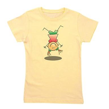 b914cdd5c CafePress - Cartoon Stick Figure Girl Cartwheel - Girl's Cotton T-Shirt,  Cute Slim