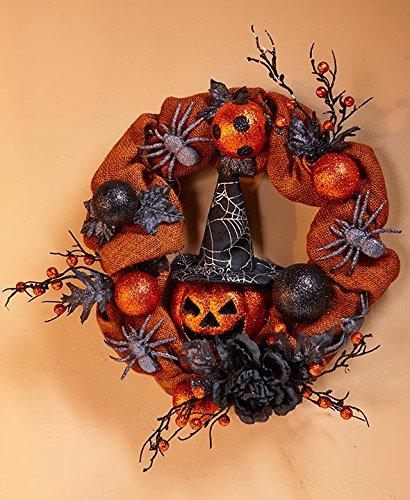 4Rissa Halloween Jack-o'-Lantern Pumpkin Wreath Door Hanger Gothic Spooky Home Party Decoration Decor