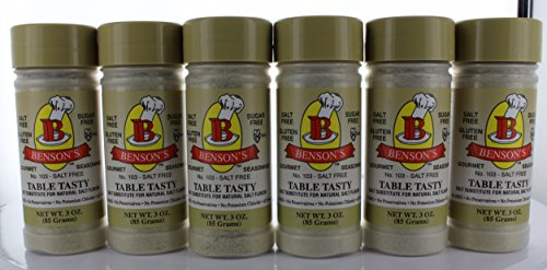 6-Pack Table Tasty Salt Substitute No Potassium Chloride Substitute for Salt - 6 Bottles with Shaker 2oz (Pack of 6)