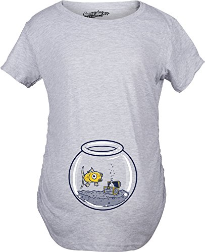 Crazy Dog TShirts - Maternity Goldfish Fishbowl Funny Graphic Pregnancy Tee for Women - Femme