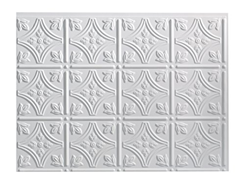 - Fasade Easy Installation Traditional 1 Matte White Backsplash Panel for Kitchen and Bathrooms (18