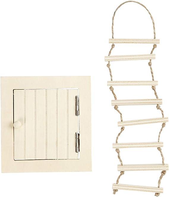 Puerta de acceso al desván con escalera de cuerda, medidas 9-20 cm, madera contrachapada, 1set: Amazon.es: Hogar