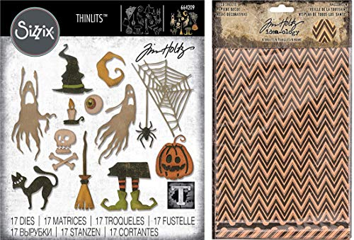 Tim Holtz Sizzix Thinlits 2019 Halloween Dies - Frightful Things and Tim Holtz Idea-Ology Halloween Deco Sheets - 2 Items ()