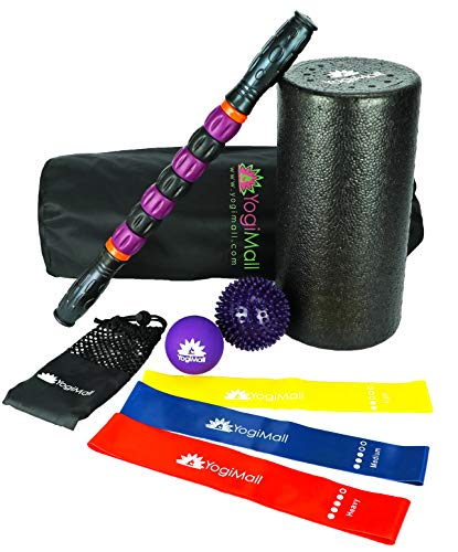 YogiMall All-in-One Massage & Fitness 9 Piece Mobility Kit – Foam Rollers, Massage Stick, Lacrosse, Spiky Ball, 3 Resistance Loop Bands & Bag OR 4-in-1 Foam Roller Set for Total ()