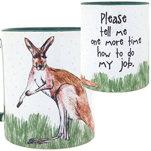 Kangaroo Job Mug by Pithitude - One Single 11oz. Green Coffe