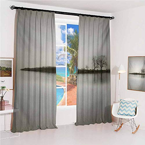GUUVOR Nature Studio partition Living Room Curtain Landscape Shady Tones with Isolated Trees Over Island Calm Fog Blurry Environment Print for Living Room or Bedroom W52 x L108 Inch Sepia