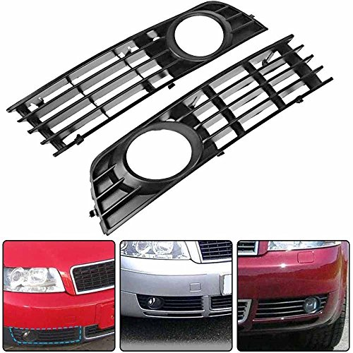 - Simply Silver - Bumper Lower Fog - for 02-05 Audi A4 B6 Sedan Front Bumper Lower Fog Light Grille Insert Pair 2xA1L