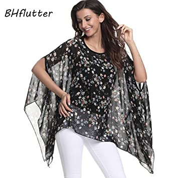 70b4acde1ad2d ASGHILL Boho Plus Size Women Casual Batwing Top Tee Shirt Summer Flowers Printing  Chiffon Blouses Tops