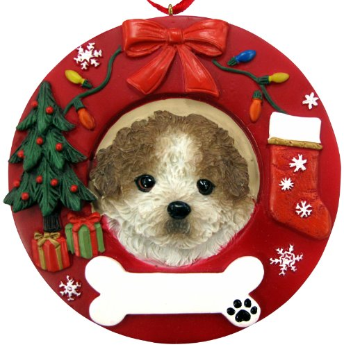 Tan and White Shih Tzu, Puppy Cut Ornament Personalized and Hand Painted Measures 3.75 Inches Diameter
