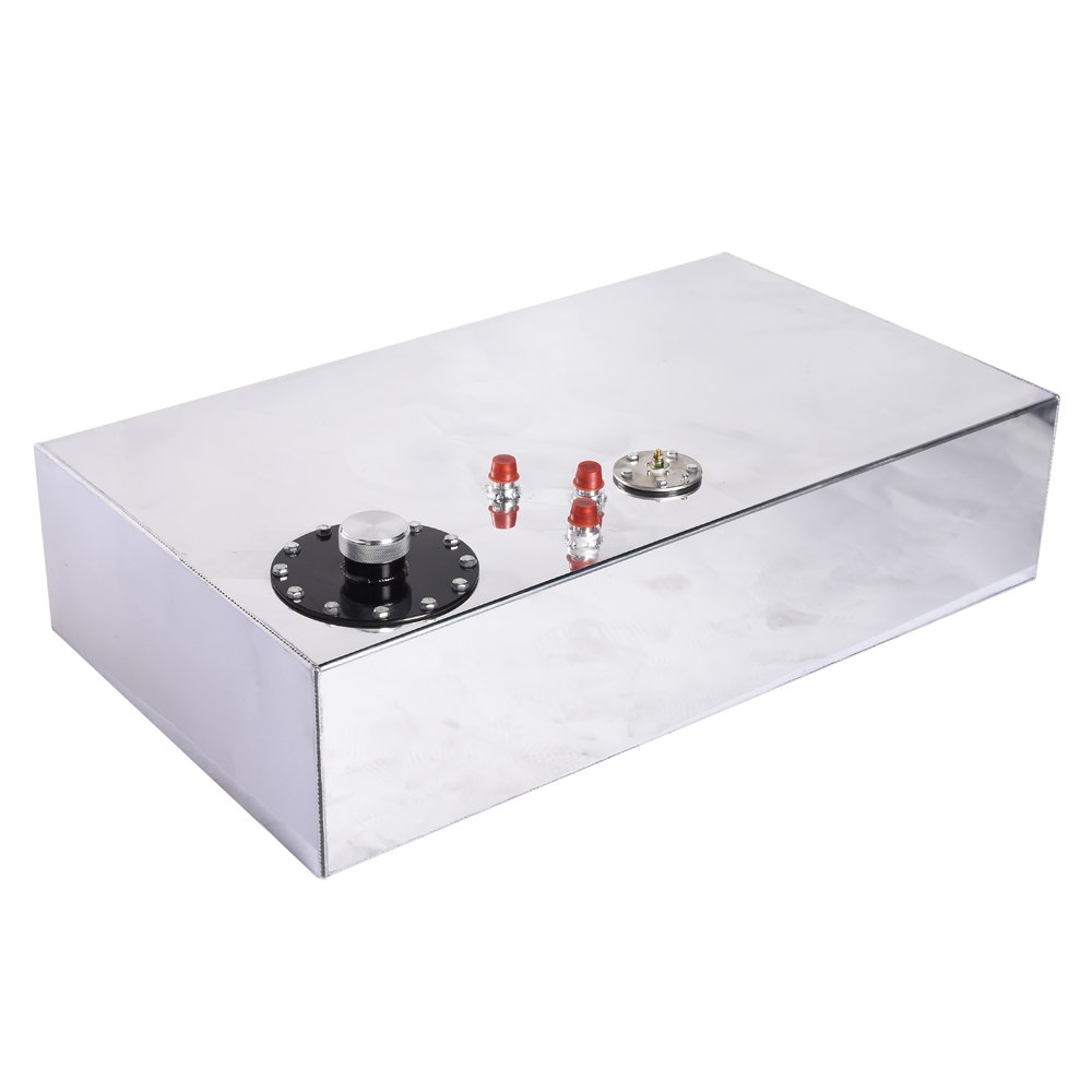 17-Gallon Aluminum Top-Feed Fuel Cell Gas Tank W/Oil Level Sensor Silver Silver by MILLION PARTS