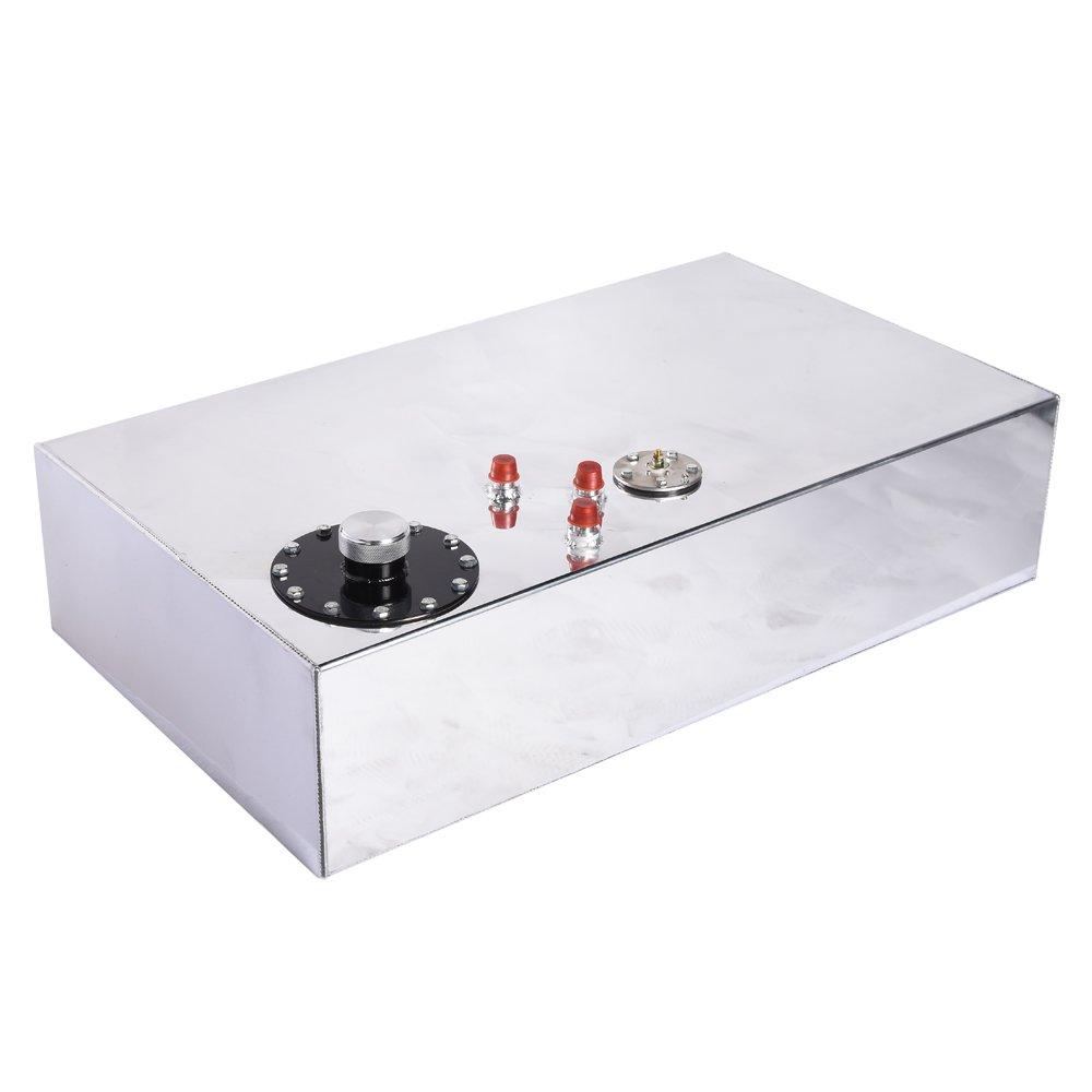 17-Gallon Aluminum Top-Feed Fuel Cell Gas Tank W/Oil Level Sensor Silver Silver