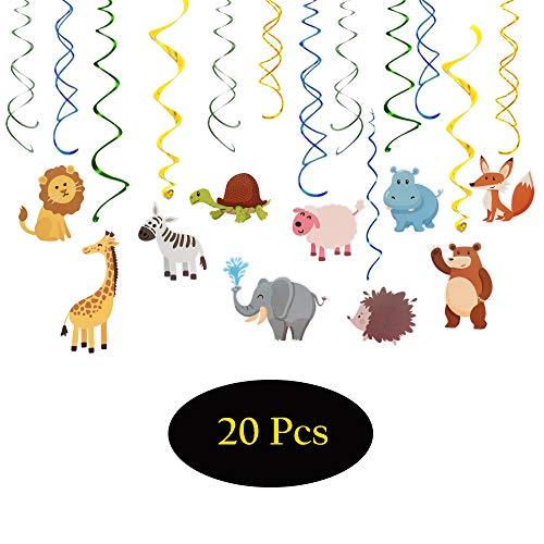 Cartoon Animals Party Supplies Cute Adorable Pom Kits Baby Shower First Birthday Kid's Happy Birthday Double Sides Double Spiral Zoo Safari Jungle Hanging Swirls Streamers Decoration -30'' x 20pcs ()