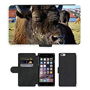 Hot Style Cell Phone Card Slot PU Leather Wallet Case // M00112801 Wisent European Bison Bison // Apple iPhone 6 4.7""