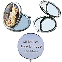Guardian Angel (12 PCS) Personalized Compact Mirror First Communion, Christening, Baptism, Mi Bautizo Flavors Laser Engraving