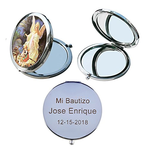 Guardian Angel (12 PCS) Personalized Compact Mirror First Communion, Christening, Baptism, Mi Bautizo Flavors Laser Engraving -