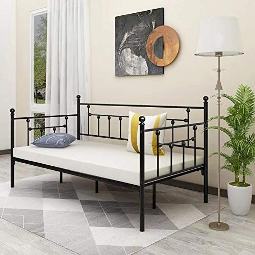 Alazyhome Twin/Full/Queen Size Metal Bed Frame Platform No Box Spring Needed with Vintage Headboard and Footboard Premium Steel Slat Support Mattress Foundation Black/White/Bronze/Silver
