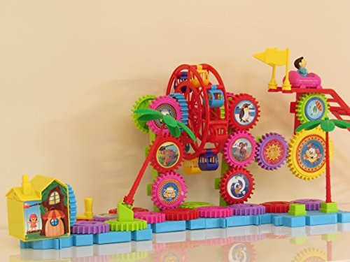 Building Gears Toy for Children and Toddlers- Amusement Park, Educational Music Toy with ABC SONG, Assorted Sizes and Colors, Fine Motor Skills, Boys and Girls, Gears Constructive Toy Learning.